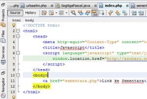 tutorial redirect URL dengan menggunakan javascript