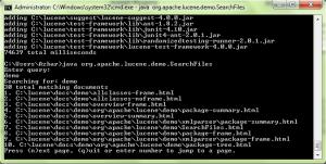index cmd query demo menggunakan Lucene