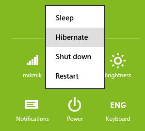 menampilkan pilihan hibernate pada windows 8