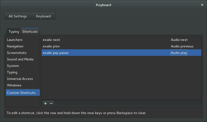 exaile keyboard shortcut