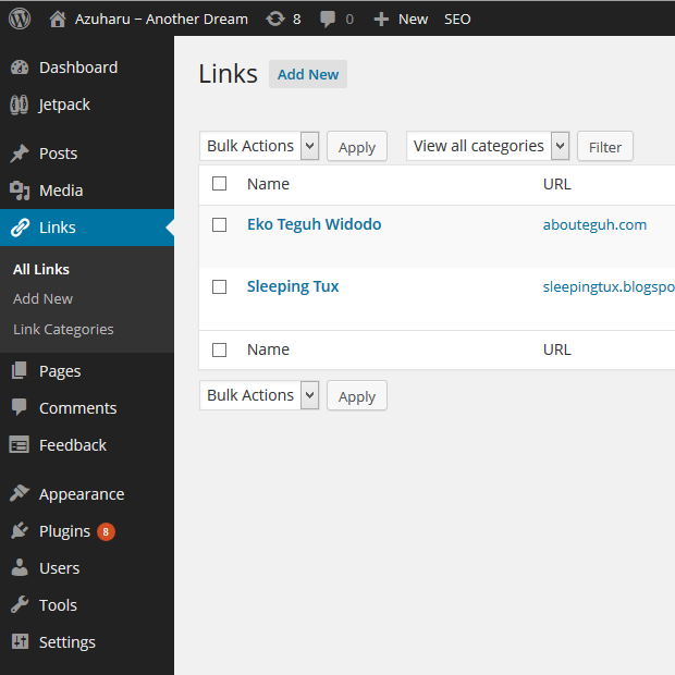 wordpress link manager