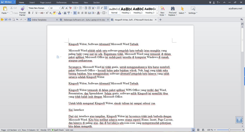 kingsoft writer, software alternatif microsoft word terbaik