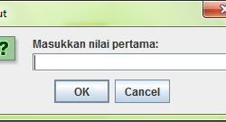 Kalkulator input menggunakan JOptionPane