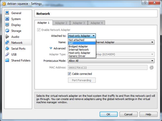 perbedaan nat bridge host only virtual box network adapter