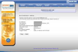 nomor referensi nasabah internet banking bri