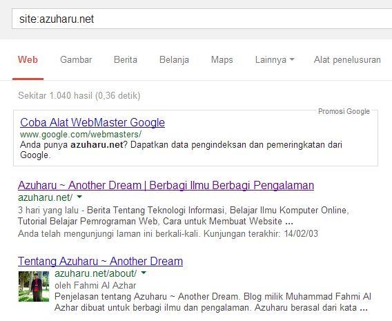 cara mengetahui artikel yang kita tulis terindex google atau tidak