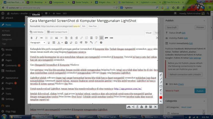 cara mengambil screenshot menggunakan lightshot