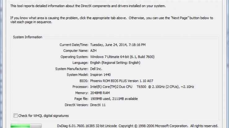 dxdiag diagnostic tool